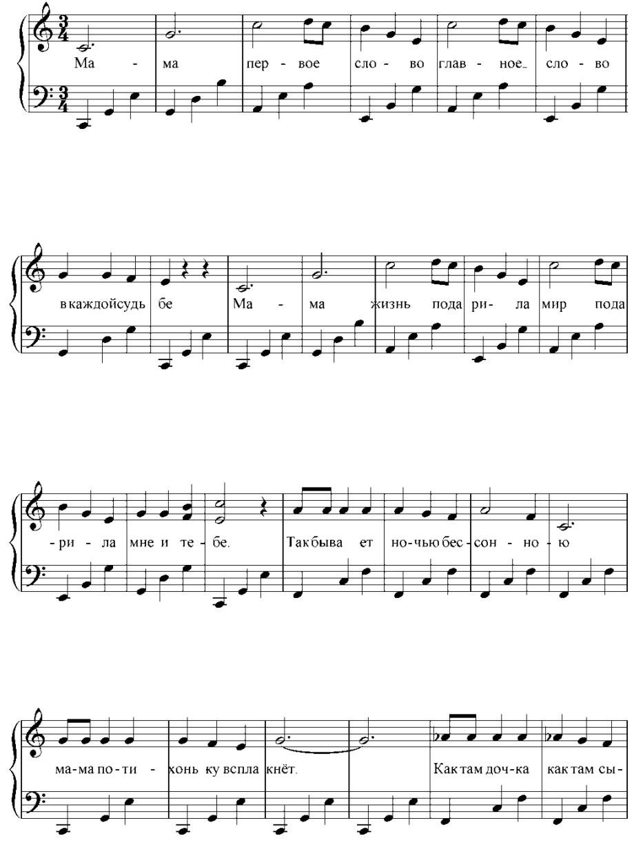 Мама (ноты, начало)